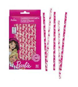 Cannucce di carta biodegradabili Barbie 80pz