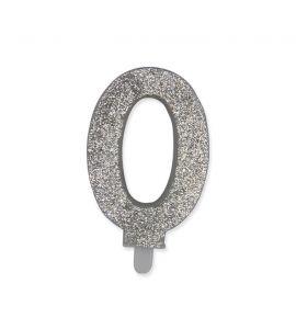 Candelina Glitter DIMAV N° 0 - Argento - 9 cm.