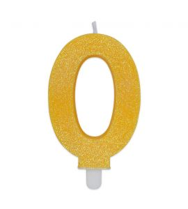 Candelina Glitter DIMAV N° 0 - Giallo - 9 cm.