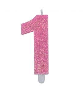 Candelina Glitter DIMAV N° 1 - Rosa - 9 cm.