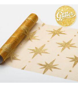 Runner organza stelle oro glitter 3mt