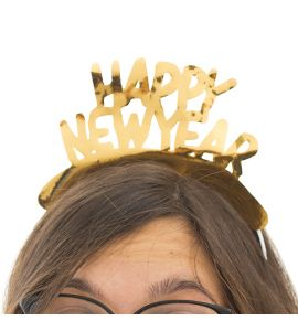 Cerchietto  happy new year oro 4pz