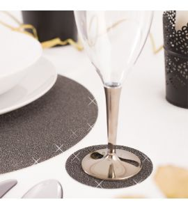 Sottobicchieri glitter nero 6pz