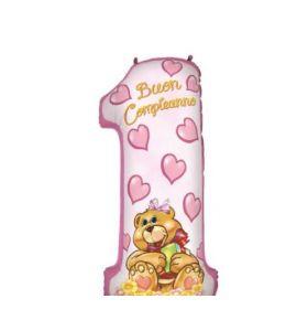 Palloncino mylar N1 rosa 100cm