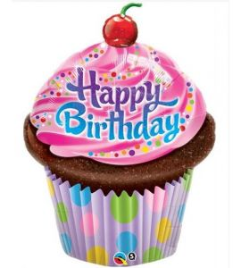 """Palloncino mylar super shape """"Cup Cake happy bday"""" 35 pollici - Compleanno"""