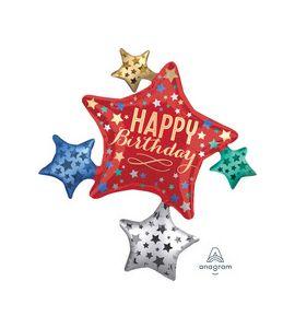 Pallonicno mylar super shape birthday satin star cluster 35 pollici