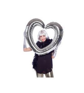 Pallonicno mylar super shape cuori per selfie argento 80x70cm