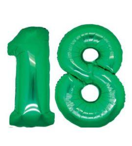Palloncino mylar numero 18 verde 35cm