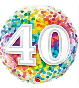 Palloncino mylar tondo Rainbow Confetti 40 birthday 18 pollici - Compleanno
