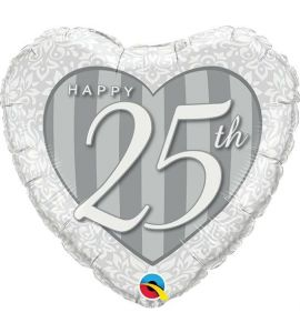 Palloncino mylar cuore happy 25th 18 pollici