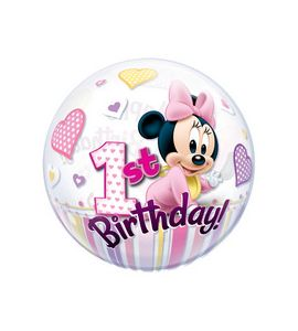 Pallone bubble baby minnie primo compleanno 22 pollici