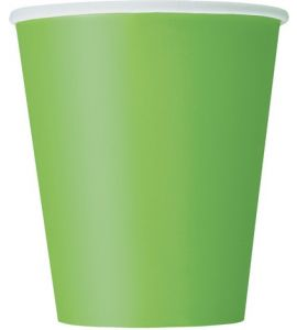 Bicchiere verde lime in cartoncino 270ml 14pz