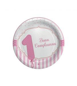 Piatti rosa buon primo compleanno 8 piatti 18cm