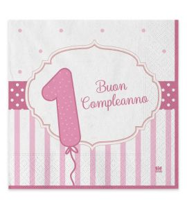 Tovaglioli rosa buon primo compleanno 20 tovaglioli 33X33