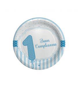 Piatti celeste buon primo compleanno 8 piatti 18cm