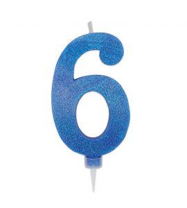 Candelina Maxi Glitter DIMAV Blu - n° 6 - 15 cm.