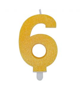 Candelina Glitter DIMAV N° 6 - Giallo - 9 cm.