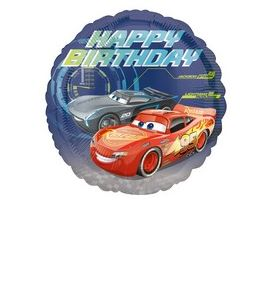 cars mylar  happy birthday 18 pollici