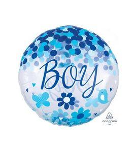 """Pallone mylar con coriandoli azzurro """"boy"""" 28pollici"""