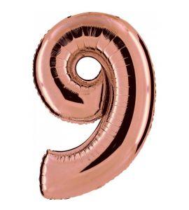 PALLONCINI IN MYLAR NUMERO 9 ROSE GOLD 86CM
