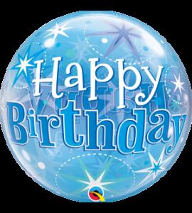 Bubble Qualatex starburst happy birthday blu 22 pollici