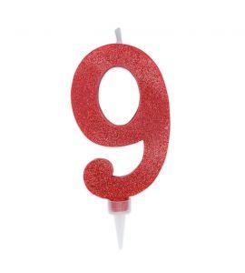 Candelina Maxi Glitter DIMAV Rossa - n° 9 - 15 cm.