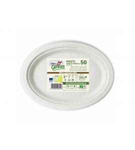 Piatti ovali biodegradabili e compostabile (polpa di cellulosa) 31.5x25 cm 15pz