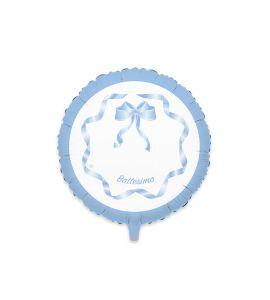 Palloncino Mylar Battesimo Celeste con Fiocco 24pollici 60cm
