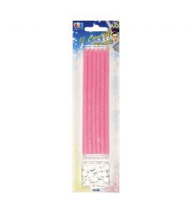Candeline matita rosa con supporto 12 pz