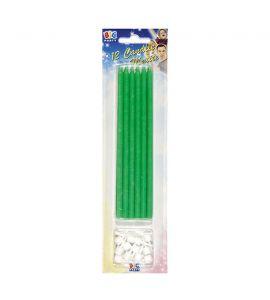 Candeline matita verde con supporto 12 pz