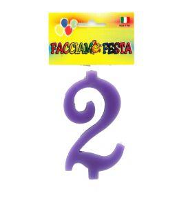 """Candela Numerale """"Facciamo Festa"""" Media n°2 Lilla"""