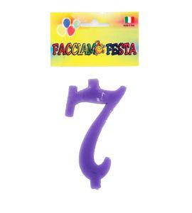 """Candela Numerale """"Facciamo Festa"""" Media n°7 Lilla"""