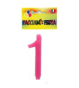 """Candela Numerale """"Facciamo Festa"""" Small 1 Rosa"""