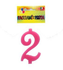 """Candela Numerale """"Facciamo Festa"""" Media n°2 Rosa"""