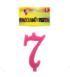 """Candela Numerale """"Facciamo Festa"""" Small 7 Rosa"""