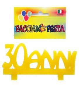 """Candela Media Targhetta Età """"Facciamo Festa"""" Giallo 30anni"""