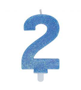 Candelina Glitter DIMAV N° 2 - Celeste - 9 cm.