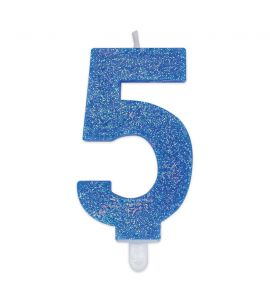 Candelina Glitter DIMAV N° 5 - Celeste - 9 cm.