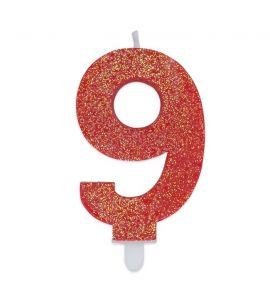 Candelina Glitter N°9 - Rossa - 9 cm.