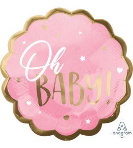 Palloncino Mylar Oh Baby Rosa con Bordo Oro 22pollici 55cm