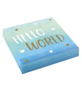 """Hello World"" Boy 16 tovaglioli 33x33 - Baby Shower"