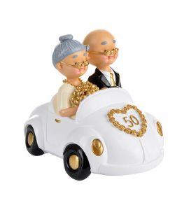 Cake topper sposi 50 anni in auto