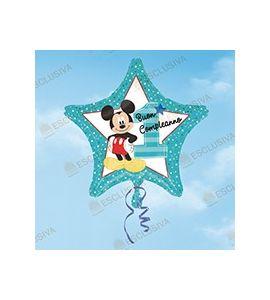 Palloncino mylar stella azzurra buon primo compleanno Topolino 18 pollici