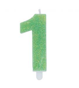 Candelina Glitter DIMAV N° 1 - Verde - 9 cm.