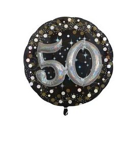 """Pallonicno mylar Super Shape Sparkling """"50 anni"""" 32 pollici - Compleanno"""