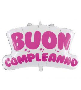 """Pallonicno mylar super shape """"Buon compleanno"""" rosa 76x67 cm"""