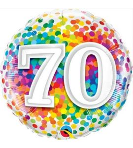 """Palloncino mylar tondo Rainbow confetti """"70 birthday"""" 18 pollici - Compleanno"""