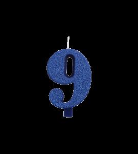 CANDELINA GLITTER GIVI N° 9 - BLU - 9,5 CM