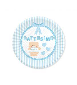 """Piatto """"BATTESIMO"""" teddy  8piatti 24cm"""