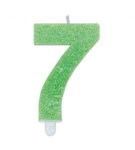 Candelina Glitter DIMAV N° 7 - Verde - 9 cm.